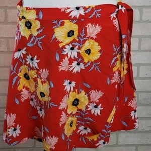 Divided H&M Floral Mini Wrap Skirt Sz 12 Red
